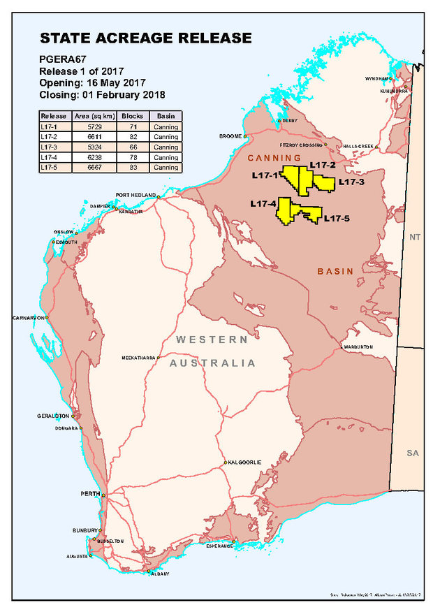 Australia Map 2017.Release 1 Of 2017 Canning Basin