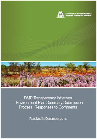Supportive response to revised Environment Plan Summary submission process